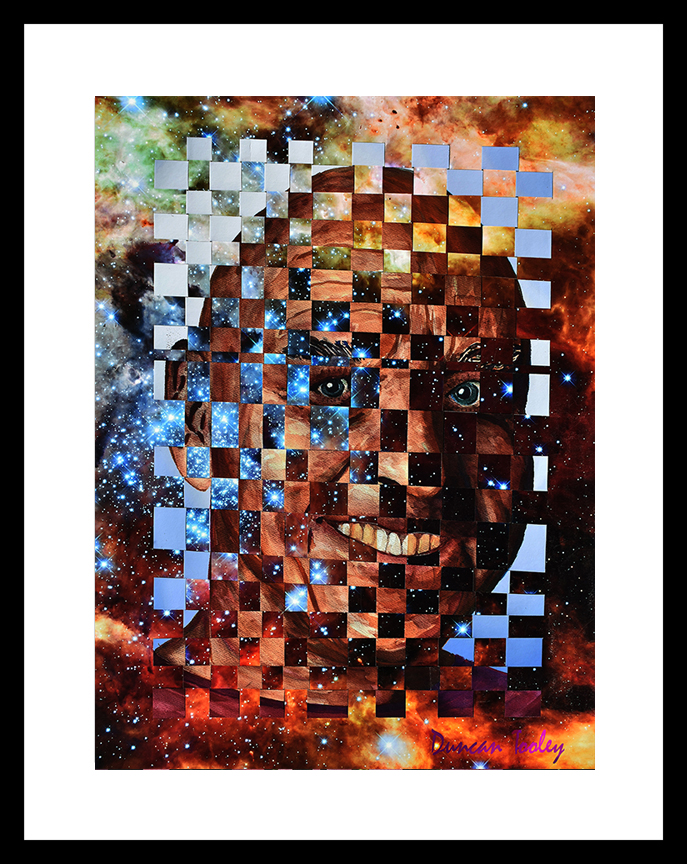 "James in the Tarantula Nebula Interwoven fractal watercolors 30"" x 22"" (without frame)"
